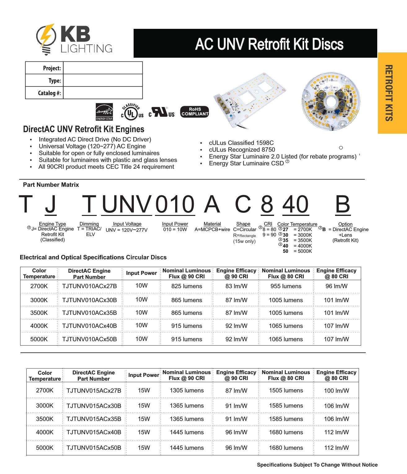 AC UNV Retrofit Kit Discs | KB Lighting